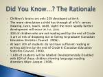 did you know the rationale