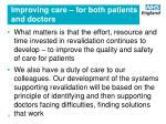 improving care for both patients and doctors
