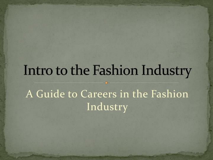 intro to the fashion industry n.