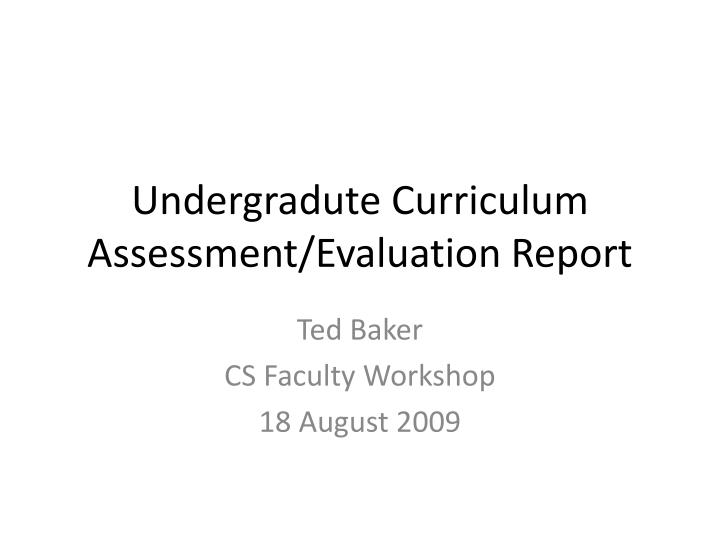undergradute curriculum assessment evaluation report n.