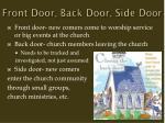 front door back door side door