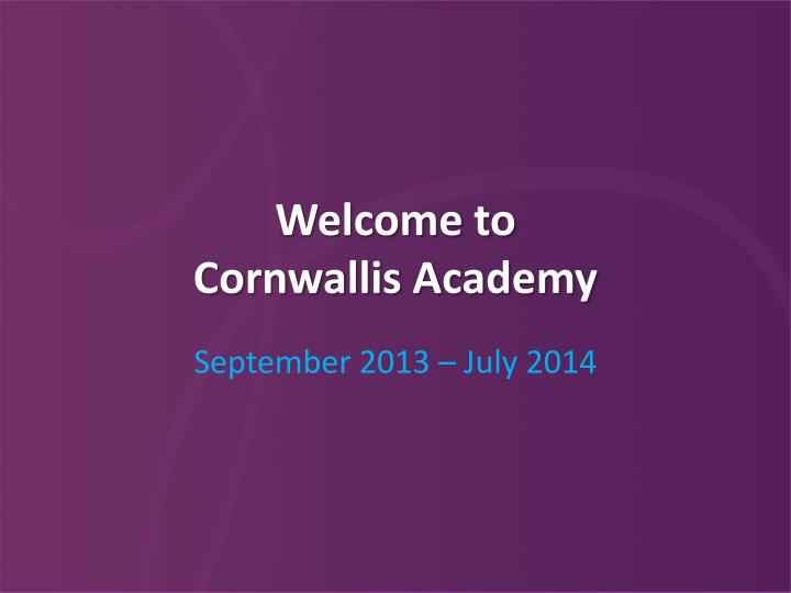 welcome to cornwallis academy n.