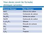vous devez savoir les formules chimiques suivantes