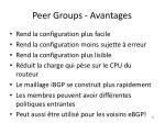 peer groups avantages