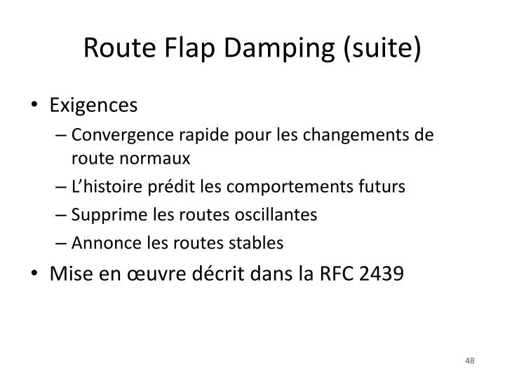 Route Flap Damping (suite)