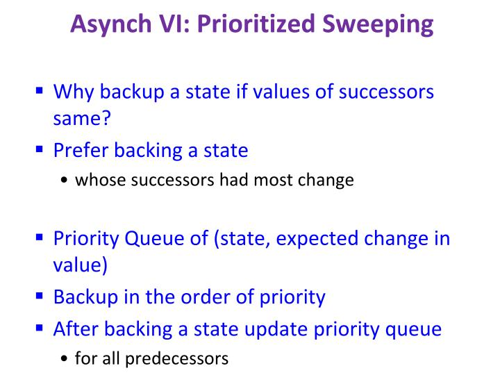 Asynch VI: Prioritized Sweeping