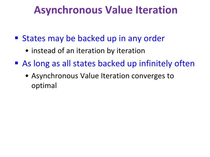Asynchronous Value Iteration