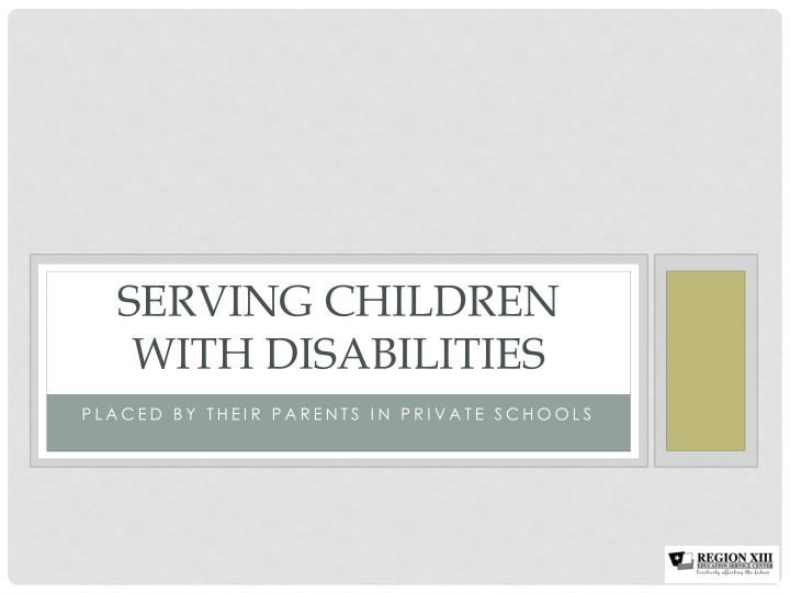 serving children with disabilities n.