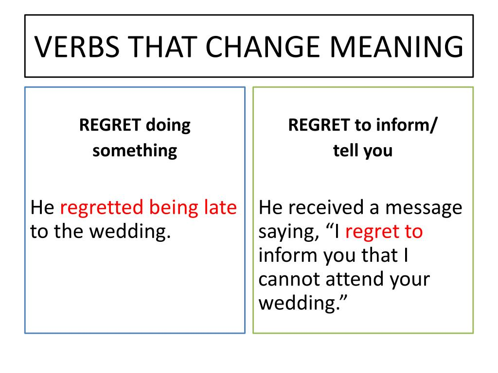 PPT - Verbs Followed by Gerunds OR Infinitives Different