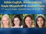adele english annie loduca hayle meyerhoff audrey davis 5 th place in state 4x400m relay 4 19 68 pr