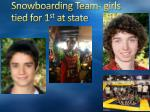 snowboarding team girls tied for 1 st at state
