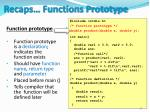 recaps functions prototype
