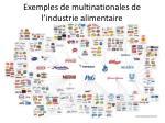 exemples de multinationales de l industrie alimentaire