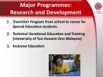 major programmes research and development