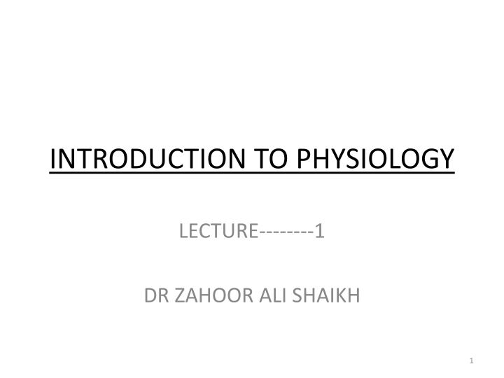 introduction to physiology n.
