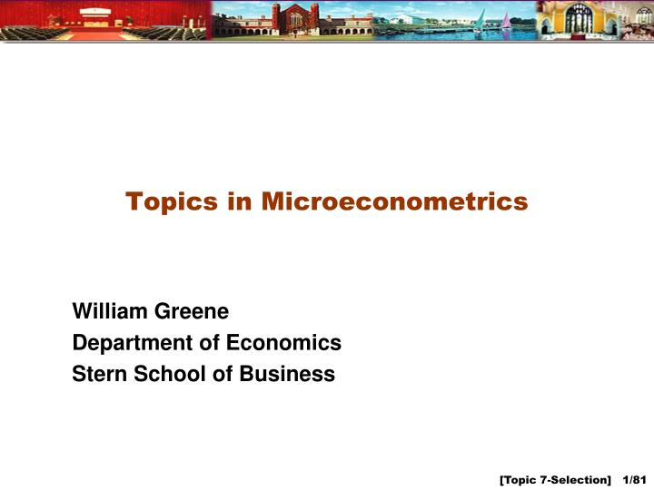 topics in microeconometrics n.