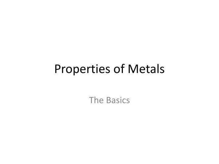 properties of metals n.