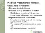 modified precautionary principle with a role for science