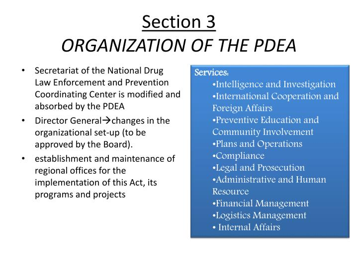 section 3 organization of the pdea n.