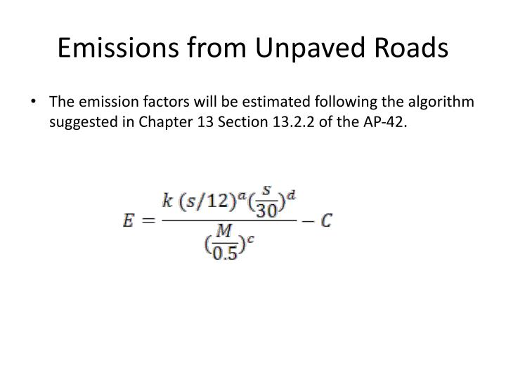 Emissions from Unpaved Roads