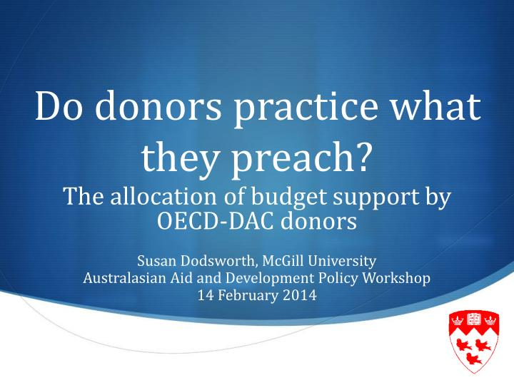 do donors practice what they preach n.