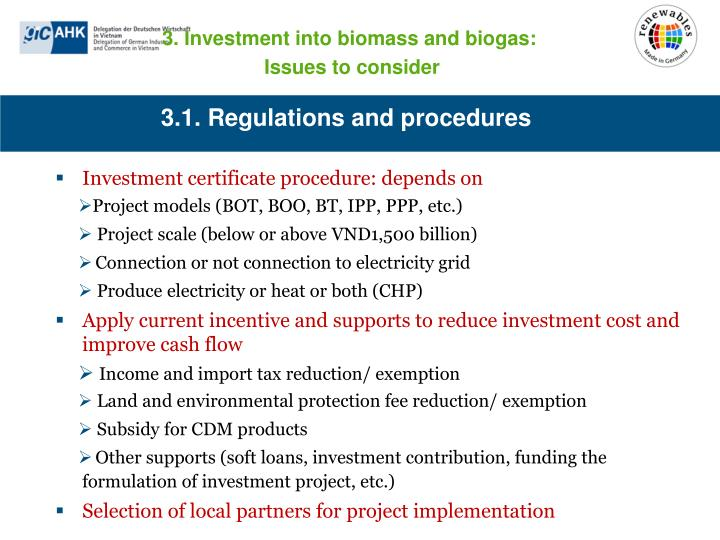 3.1. Regulations and