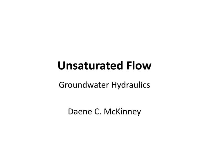 unsaturated flow n.