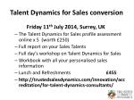 talent dynamics for sales conversion