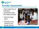 provider assessment