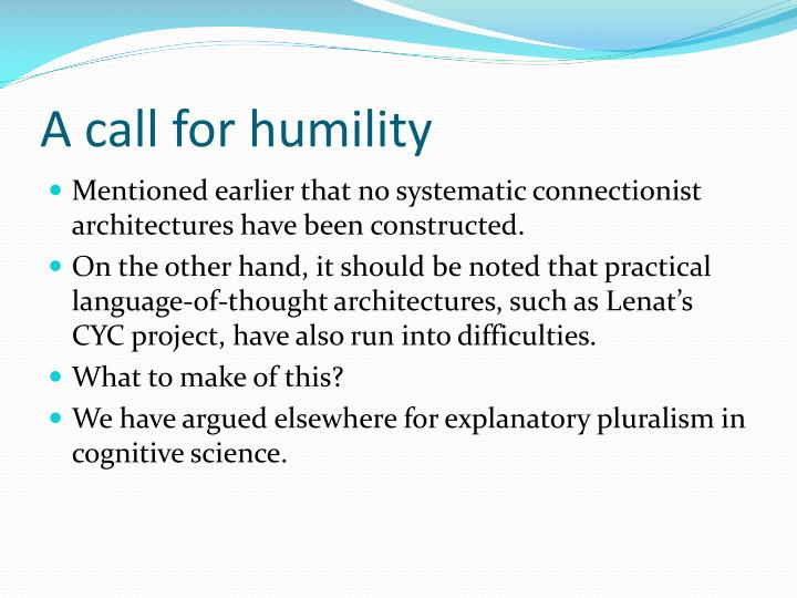 A call for humility