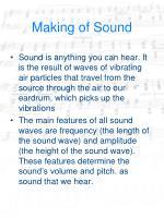 making of sound