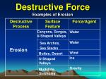 destructive force examples of erosion