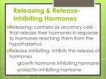 releasing release inhibiting hormones