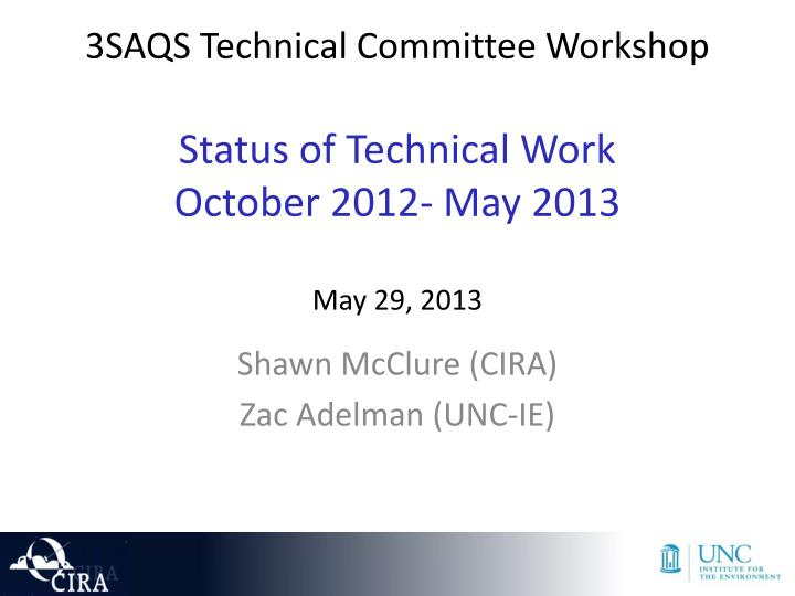 3saqs technical committee workshop status of technical work october 2012 may 2013 may 29 2013 n.