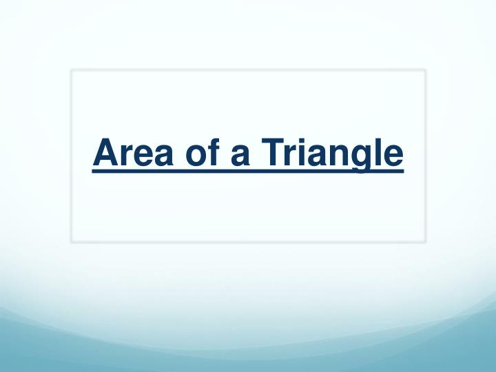 area of a triangle n.