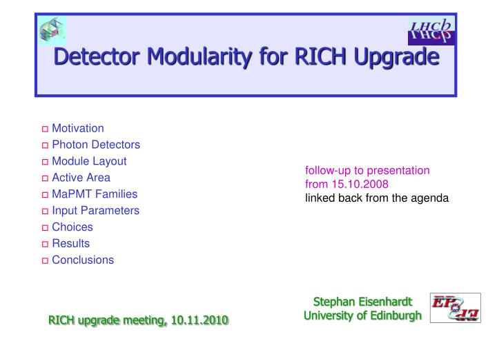 detector modularity for rich upgrade n.