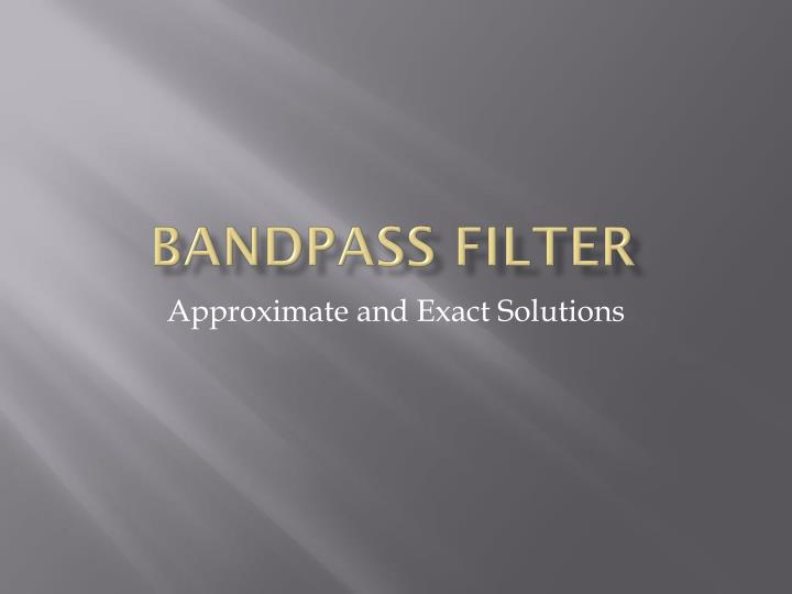 bandpass filter n.