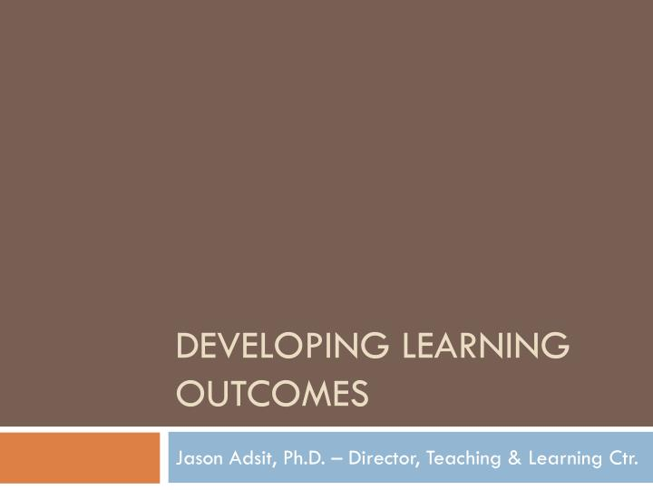 developing learning outcomes n.