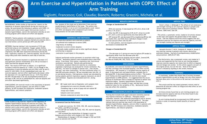arm exercise and hyperinflation in patients with copd effect of arm training n.