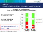 results cardiac comorbidity and dyspnea 2 are correlated