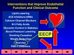 interventions that improve endothelial function and clinical outcome
