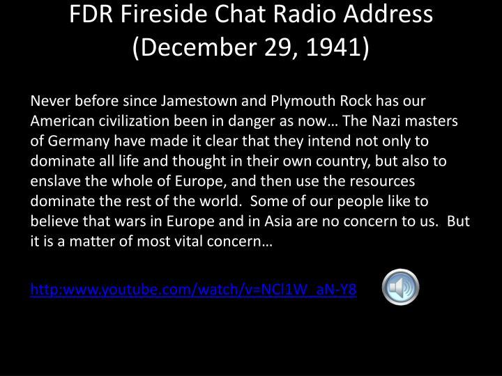 FDR Fireside Chat Radio Address (December 29, 1941)