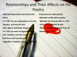 relationships and their affects on his poetry