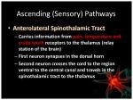 ascending sensory pathways
