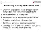evaluating working for families fund