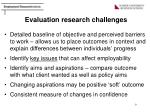 evaluation research challenges