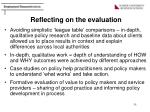 reflecting on the evaluation