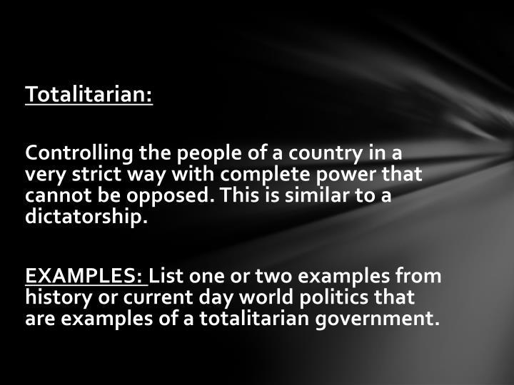 Totalitarian: