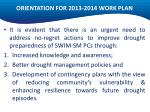 orientation for 2013 2014 work plan