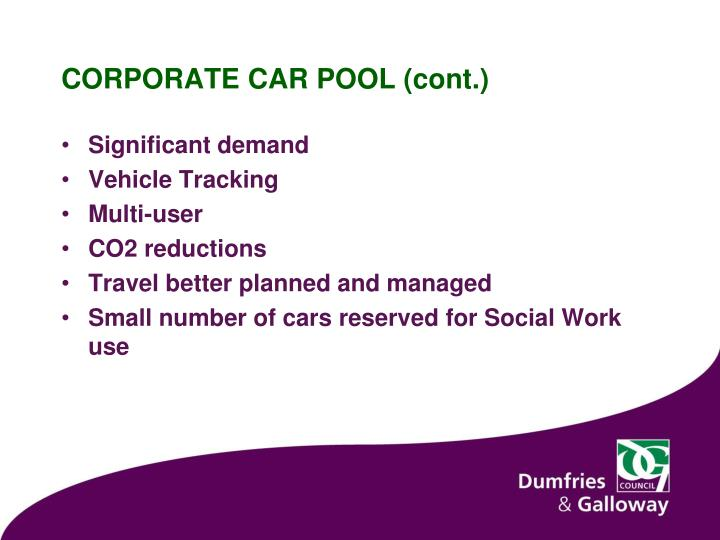 CORPORATE CAR POOL (cont.)
